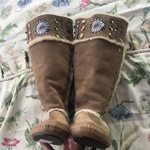 Tory Burch Shearling Lined Jewel Embellished Boots